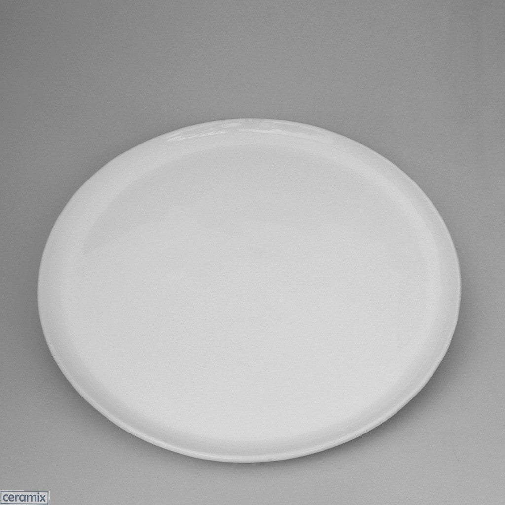 Designer Flat Ceramic Platter in Terracotta clay which is covered by a sheer white glaze by Ceramix