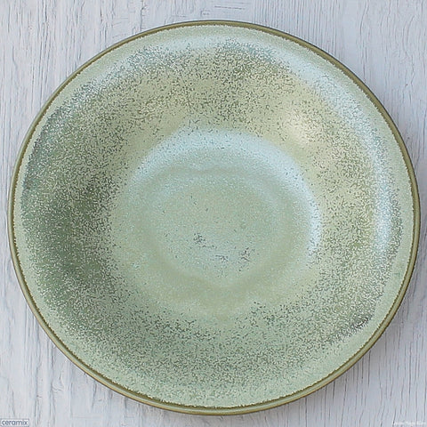 Seafoam Medium Round Stoneware Bowl Handmade at the Ceramix pottery in South Africa from African clay.- 30cm Wide x 5.5cm High