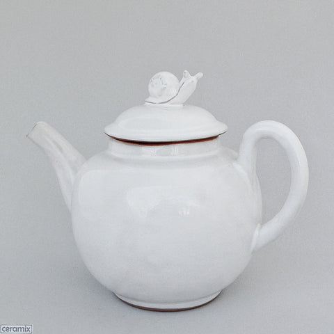White Snail Teapot made from Terracotta Clay by Ceramix