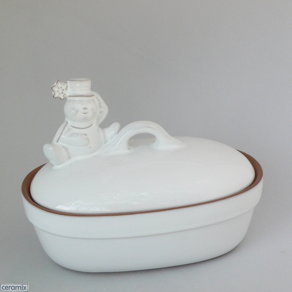 White glazed Terracotta clay Snowman Small Oval Casserole Dish by Ceramix