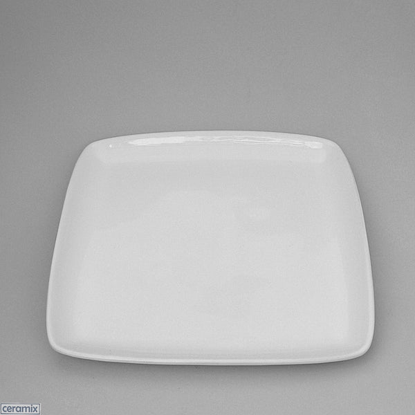 White glazed Designer Square Plate using Terracotta clay by Ceramix