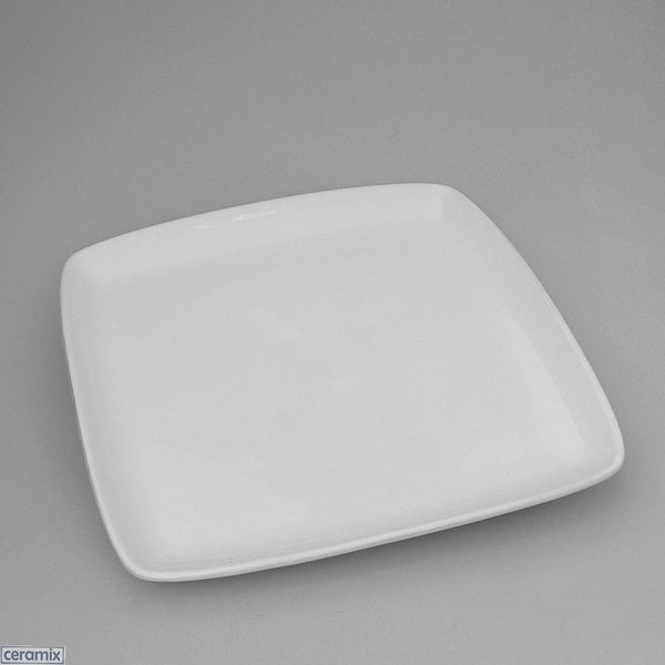 Designer Square Plate in Terracotta clay glazed white by Ceramix