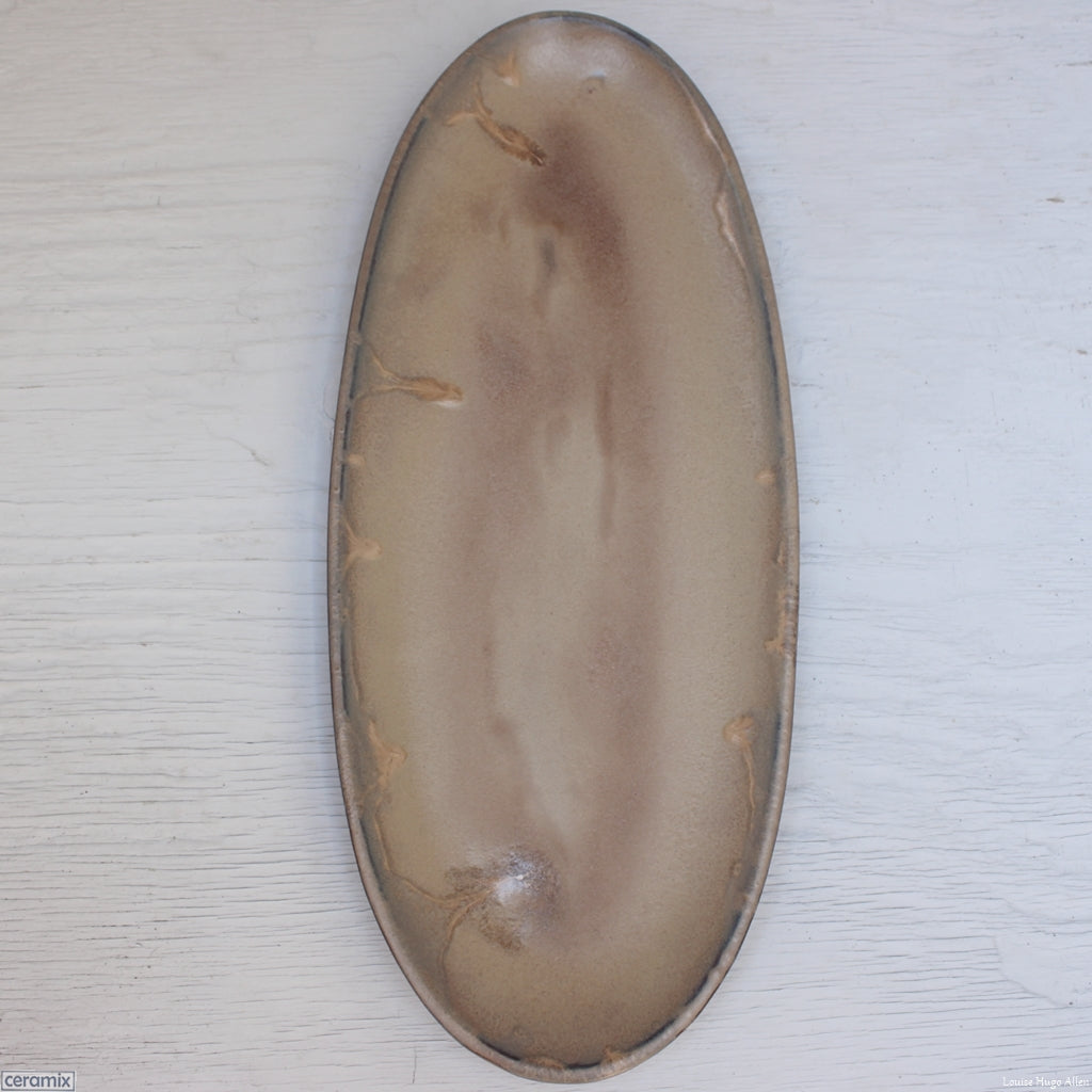 Textured Suede Large Oval Stoneware Platter handmade at the Ceramix pottery in South Africa from African clay. - 49cm Long x 20.5cm Wide x 2.5cm High