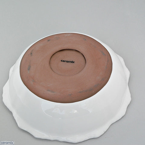 Terracotta Chateau Ware Medium Bowl 31cm Wide glazed White by Ceramix