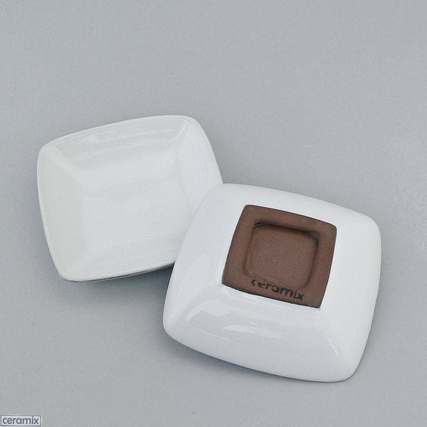 2 Terracotta Clay glazed White Designer Whatever Little Square Dishes by Ceramix