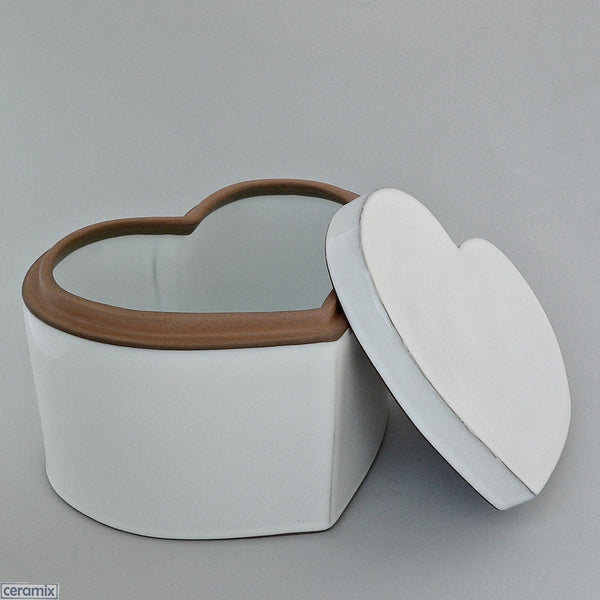 Large Ceramic Designer Heart Box in Terracotta Clay Glazed White by Ceramix