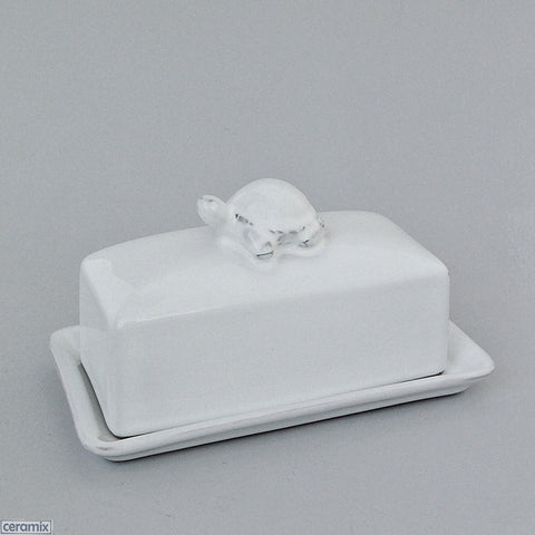 White Tortoise Butter Dish 16cm x 9cm x 11 cm High by Ceramix