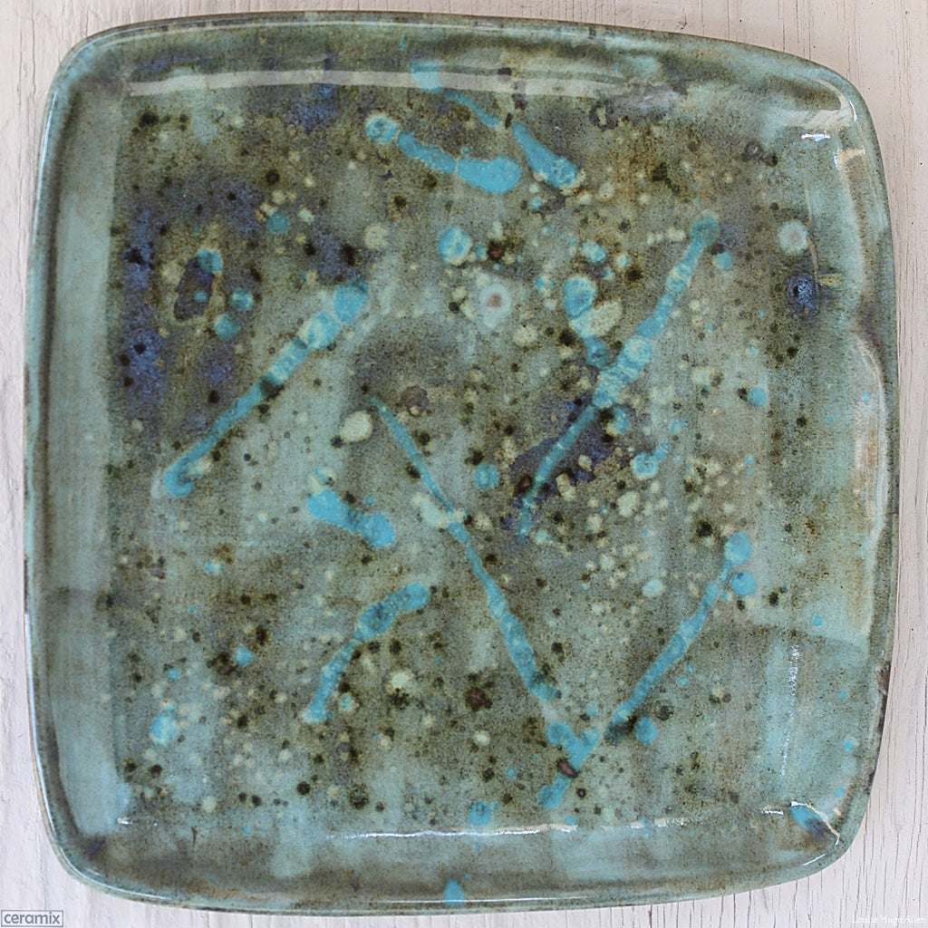 Turquoise Explosion Square Plate 1 handmade by Margaret Melville at the Ceramix Pottery in South Africa from African clay - 26cm Wide x 2.5cm High