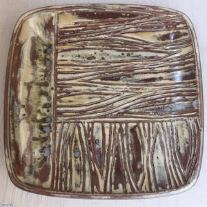 Large Square Stoneware Platter Undulating Views 9 - 39.5cm Wide x 4.5cm High