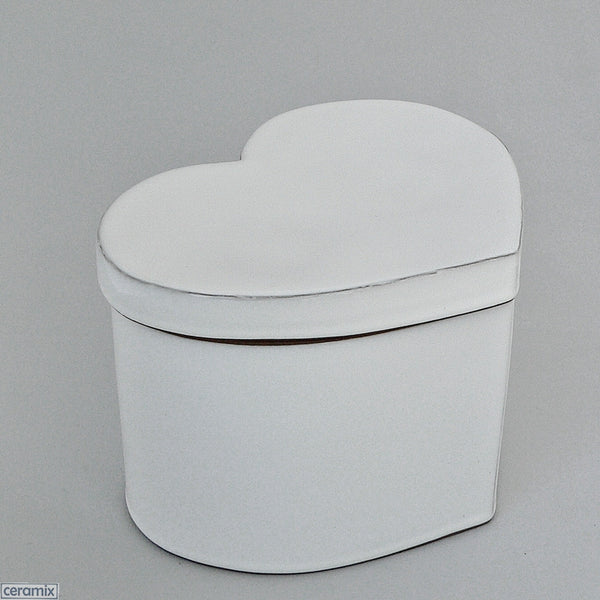 Large White Designer Heart Box by Ceramix