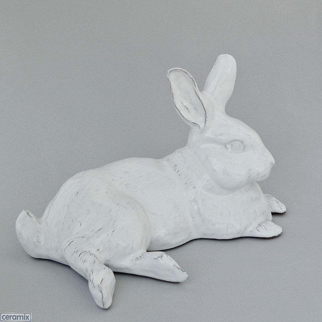 Harold Ceramic Rabbit in Terracotta Clay Glazed White by Ceramix