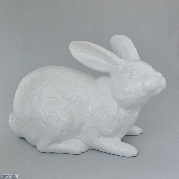 Large Ceramic Jimmy Crouching Rabbit in White Clay glazed White by Ceramix