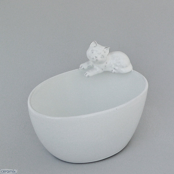 White Glazed Cat Oval Ceramic Bowl #4 by Ceramix