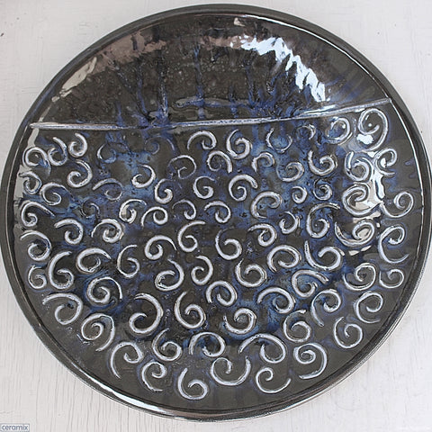 Windings Large Round Stoneware Platter #9