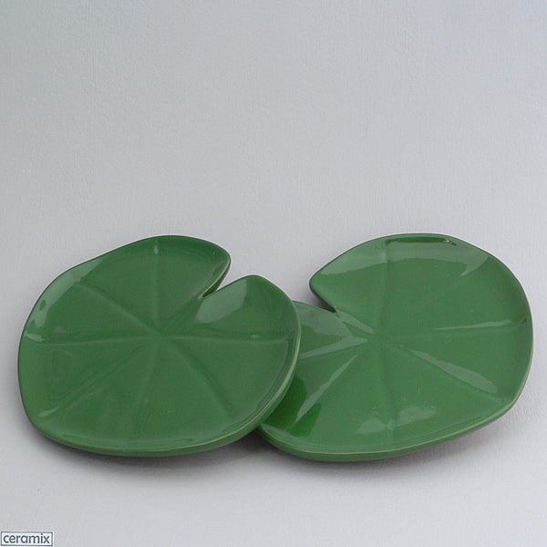2 Green Tropical Lily Pad Plates by Ceramix