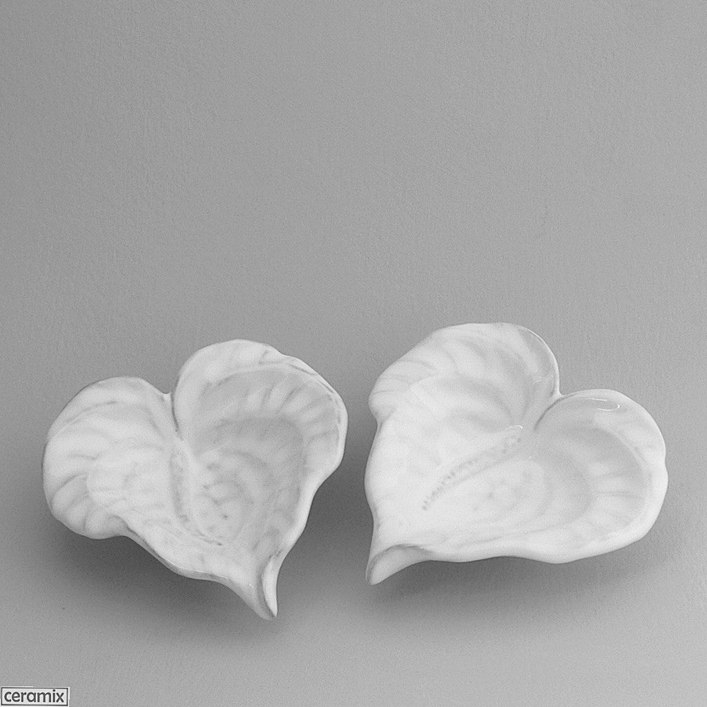 2 Anthurium Bowls in Terracotta Clay glazed White by Ceramix