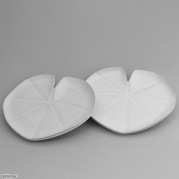 2 White Tropical Lily Pad Plates by Ceramix