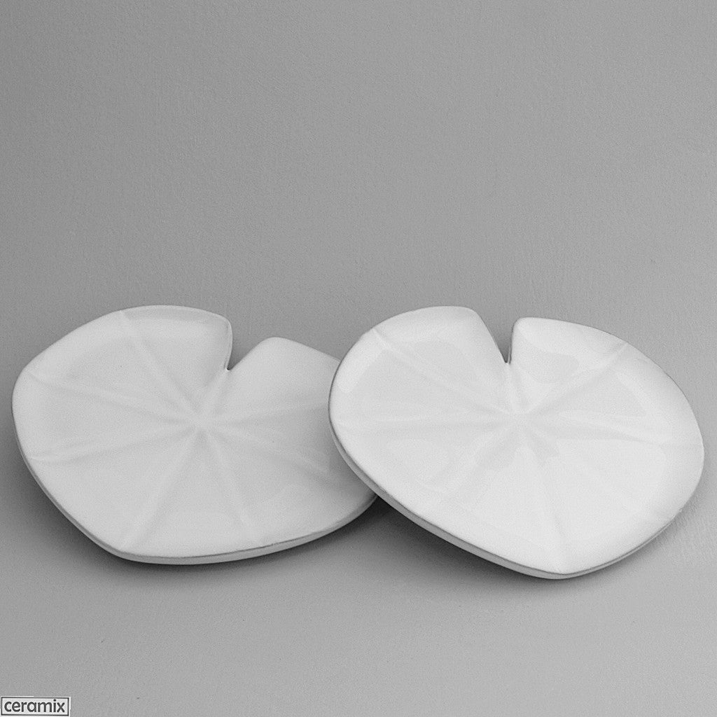 2 White Lily Pad Plates by Ceramix
