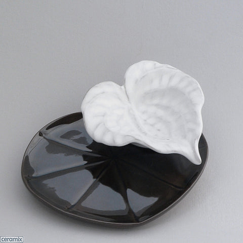 White Anthurium Bowl on Dark Green Lily Pad Plate by Ceramix