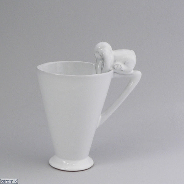 White Glazed Bunny Mug with Triangle Handle by Ceramix