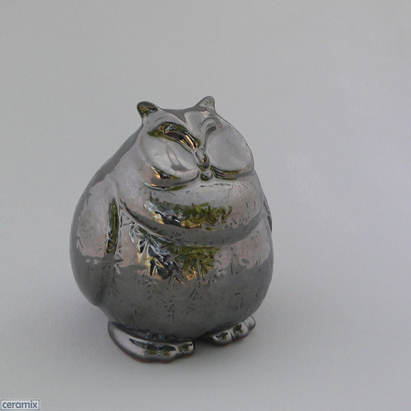 Hoot Owl in Crackle Silver Glaze by Ceramix