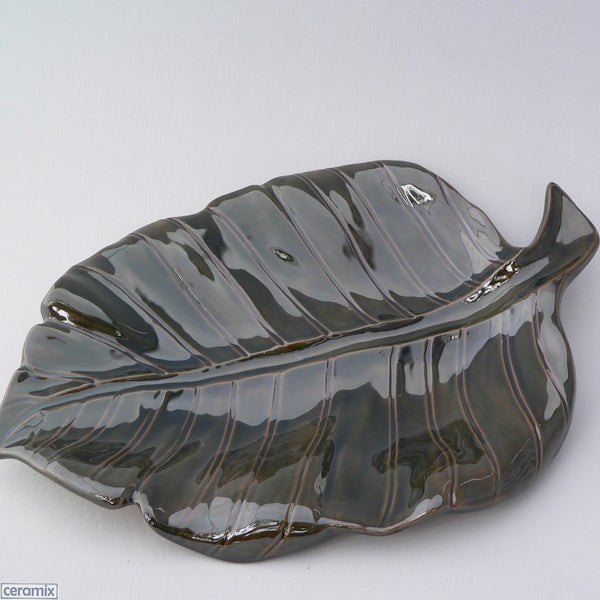 Handmade Dark Green Leaf Platter by Ceramix