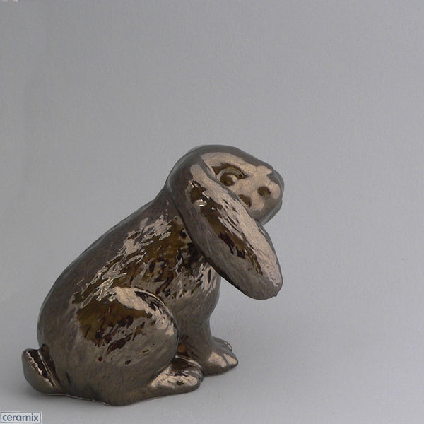 Crackle Bronze Ceramic Dixie Sitting Bunny by Ceramix