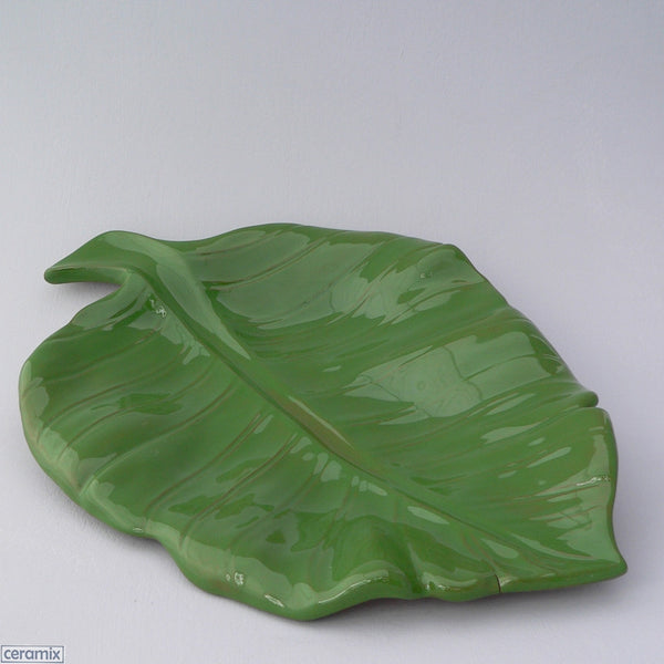 Handmade Green Leaf Platter by Ceramix