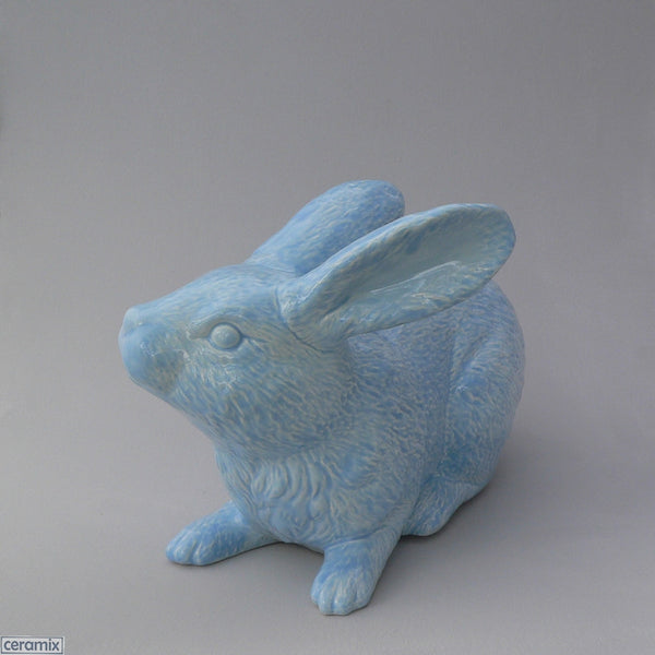 Large Blue Ceramic Jimmy Crouching Rabbit by Ceramix