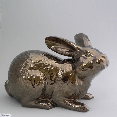 Crackle Bronze Large Ceramic Jimmy Crouching Rabbit by Ceramix