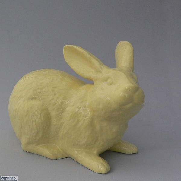 Lemon Yellow Large Ceramic Jimmy Crouching Rabbit by Ceramix