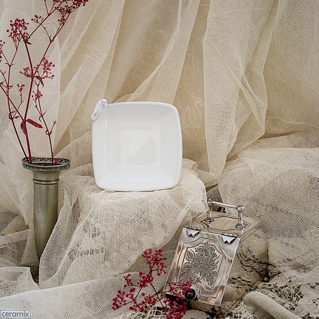 White Dove Small Square Ring Holder or Dish. Perfect for weddings.  Handmade by Ceramix in South Africa from Local African Terracotta Clay & White Glaze.