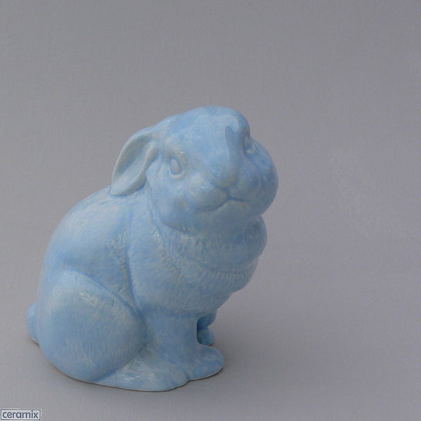 Blue Sit Sat Medium Ceramic Rabbit