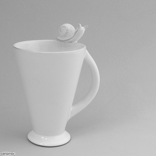 White Snail Mug with Oval Handle in Terracotta Clay by Ceramix