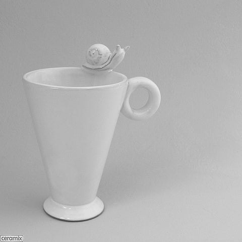 Slippery Snail Mug with Round Handle in Terracotta Clay glazed White by Ceramix