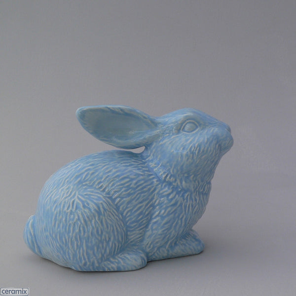 Blue Ceramic Sparkles Crouching Rabbit by Ceramix