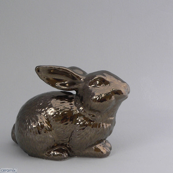 Crackle Bronze Ceramic Sparkles Crouching Rabbit by Ceramix