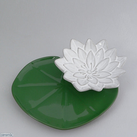Green Lily Pad Plate with White Water Lily Bowl by Ceramix