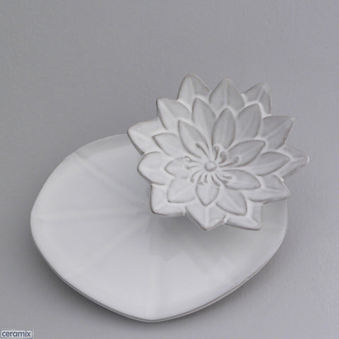 Water Lily Bowl on White Lily Pad Plate by Ceramix