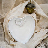 White Dove Heart Ring Holder. Perfect for weddings or to show your love.  Handmade by Ceramix in South Africa from Local African Terracotta Clay & White Glaze.