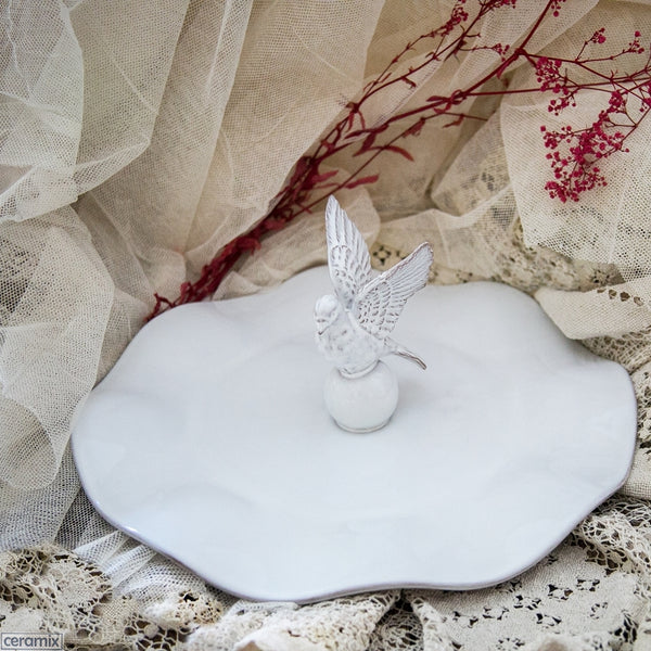 White Flying Dove Wavy Ceramic Platter by Ceramix. Handmade in South Africa from African Terracotta Clay & glazed White.