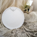 White Dove Ceramic Round Plate. Perfect for special occasions & weddings. Handmade by Ceramix in South Africa from Local African Terracotta Clay & White Glaze.