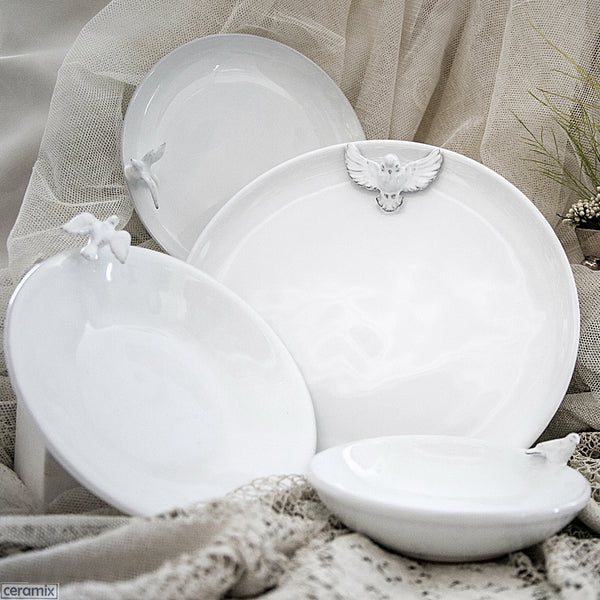 White Dove Plates & Bowls. Perfect for weddings & special occasions.  Handmade by Ceramix in South Africa from Local African Terracotta Clay & White Glaze.