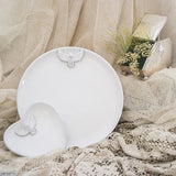 White Dove Heart Bowl & Round Plate. Perfect for weddings or special occasion. Handmade by Ceramix in South Africa from Local African Terracotta Clay & White Glaze.