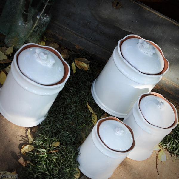 Four White Ceramic Frog Canisters in Terracotta Clay Glazed White by Ceramix