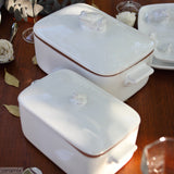 Tablescape with the Small and Large Frog Casserole Dishes in Terracotta Clay Glazed White by Ceramix