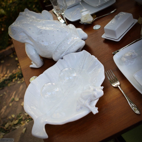 Tablescape with the White Ceramic Frog Leaf Platter in Terracotta Clay Glazed White by Ceramix