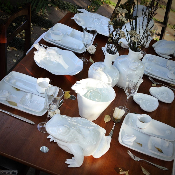 Tablescape with the Frog Collection in Terracotta Clay Glazed White by Ceramix