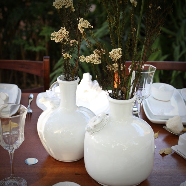 Tablescape with a Ceramic Frog Carafe in Terracotta Clay Glazed White by Ceramix