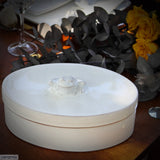 Tablescape with the White Ceramic Frog Large Oval Box in Terracotta Clay Glazed White by Ceramix